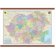 Romania si Republica Moldova. Harta administrativa 700x500 mm (GHRA70)