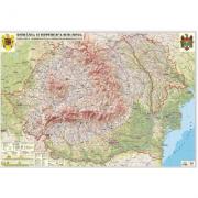 Romania si Republica Moldova. Harta fizica, administrativa si a substantelor minerale utile, 3500x2400 mm (GHRCDG)