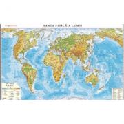 Harta fizica a lumii /Harta de contur (verso), 500x350 mm, fara sipci (LGHR3) imagine librariadelfin.ro