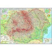 Romania si Republica Moldova. Harta fizica, administrativa si a substantelor minerale utile 2000x1400 mm (GHR2CD2) imagine librariadelfin.ro