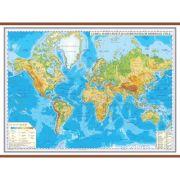 Harta fizica a lumii cu sipci 2000x1400 mm (GHL3F) imagine librariadelfin.ro