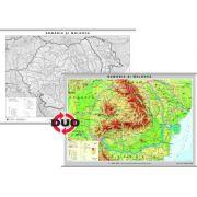 Romania - Harta fizica. Contine pe verso harta in contur - Format 160 x 120cm imagine librariadelfin.ro
