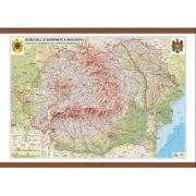 Romania si Republica Moldova. Harta fizica, administrativa si a substantelor minerale utile 1600x1200 mm (GHRF160) imagine librariadelfin.ro