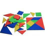 Set Tangram (4 culori, 28 piese) - din lemn reciclat imagine librariadelfin.ro