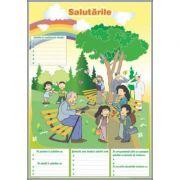 Formele de salut / Biletul. Cartea postala. Felicitarea (DUO) - Plansa cu 2 teme distinct (CP3) imagine librariadelfin.ro