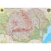 Romania si Republica Moldova. Harta fizica, administrativa si a substantelor minerale utile /Harta de contur (verso), 500x350 mm, fara sipci (LGHR2-IN imagine librariadelfin.ro
