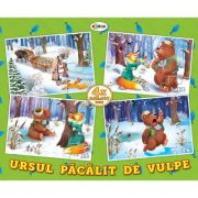 Puzzle Ursul pacalit de vulpe. 4 imagini imagine librariadelfin.ro
