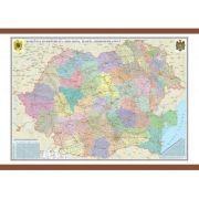 Romania si Republica Moldova. Harta administrativa 1400x1000 mm (GHR5CD)