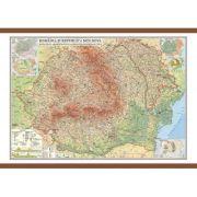 Romania si Republica Moldova. Harta fizica, administrativa si a substantelor minerale utile 1000x700 mm (GHRF100) imagine librariadelfin.ro