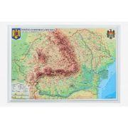 Romania si Republica Moldova. Harta fizica si administrativa - proiectie 3D, 450x330mm (3DGHRF430) imagine librariadelfin.ro