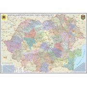 Romania si Republica Moldova. Harta administrativa (1600x1200mm), fara sipci (GHRA160-L)