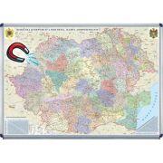 Romania si Republica Moldova. Harta administrativa 700x500mm - Harta magnetica pe suport rigid (GHRA70-OM) imagine librariadelfin.ro
