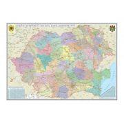 Romania si Republica Moldova. Harta administrativa /Harta de contur (verso), 600x470 mm, fara sipci (GHRA60) imagine librariadelfin.ro