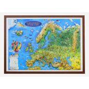 Harta Europei pentru copii, proiectie 3D, 1000x700m (3DGHECP100) imagine librariadelfin.ro