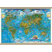 Harta lumii pentru copii, 1400x1000 mm, cu sipci (GHLCP) imagine librariadelfin.ro