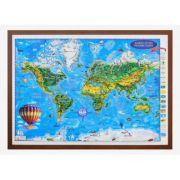 Harta Lumii pentru copii, proiectie 3D, 1000x700mm (3DGHLCP100)