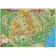 Pe-un picior de plai, pe-o gura de rai, 1400x1000mm - Harta Romaniei pentru copii, fara sipci (GHPLAI-140-L) imagine librariadelfin.ro