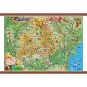 Pe-un picior de plai, pe-o gura de rai, 1400x1000mm - Harta Romaniei pentru copii (GHPLAI-140) imagine librariadelfin.ro