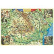 Romania - tara mea de dor (harta interactiva cu recunoastere vizuala), 1000x700mm (GHDOR100-L) imagine librariadelfin.ro