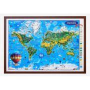 Weltkarte fur kinder, Reliefkarte 3D-Format, 1400x1000mm (3DGHLCP-DE) imagine librariadelfin.ro