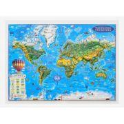 Weltkarte fur kinder, Reliefkarte 3D-Format, 450x330mm (3DGHLCP45-DE) imagine librariadelfin.ro