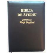 Biblia de studiu pentru o viata deplina. Editia de lux, cu piele neagra si fermoar, margini aurii, LPI006