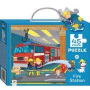 Junior Jigsaw 45 Piece Puzzle. Fire Station imagine librariadelfin.ro
