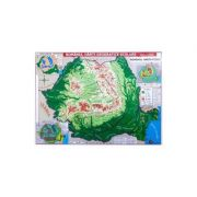 Romania. Harta fizica + harta repartitiei oraselor imagine librariadelfin.ro